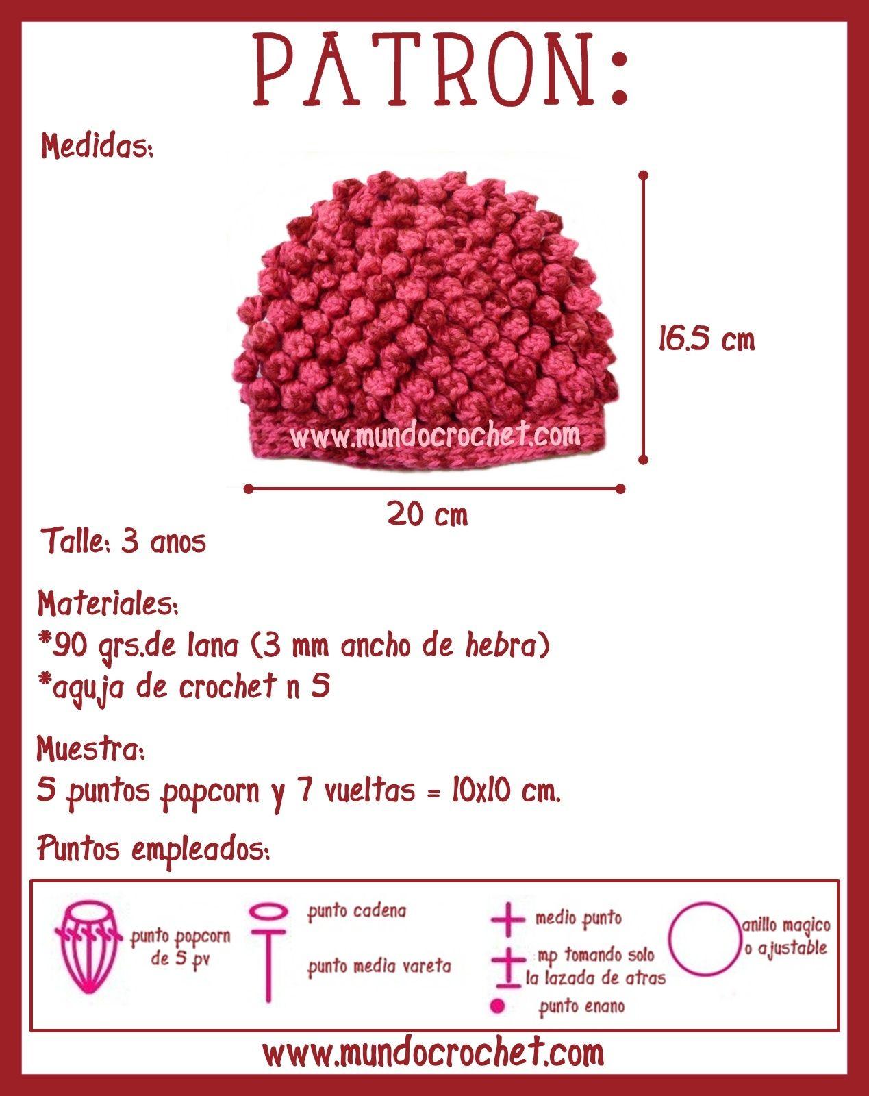Gorro en punto popcorn crochet o ganchillo | gorros | Pinterest ...