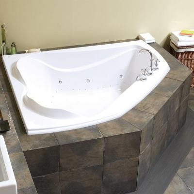 Maax Velvet 5 Ft Center Drain Soaking Corner Tub With Combined Hydrosens And Bubble Tub In White 102745 109 001 000
