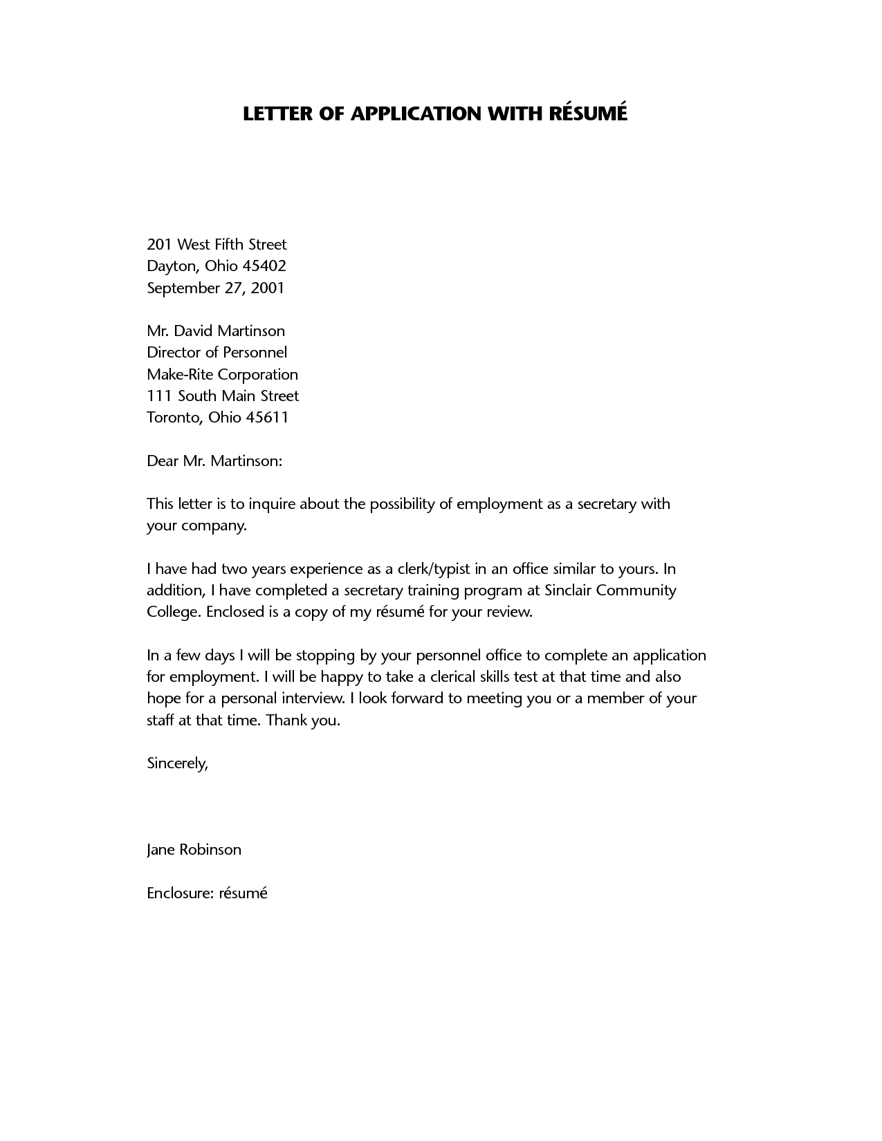 Resume Letter Resume Application Letter  A Letter Of Application Is A Document