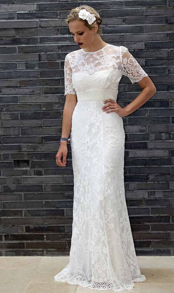 Vintage 1930s style allover chevron cut lace wedding by Decobridal ...