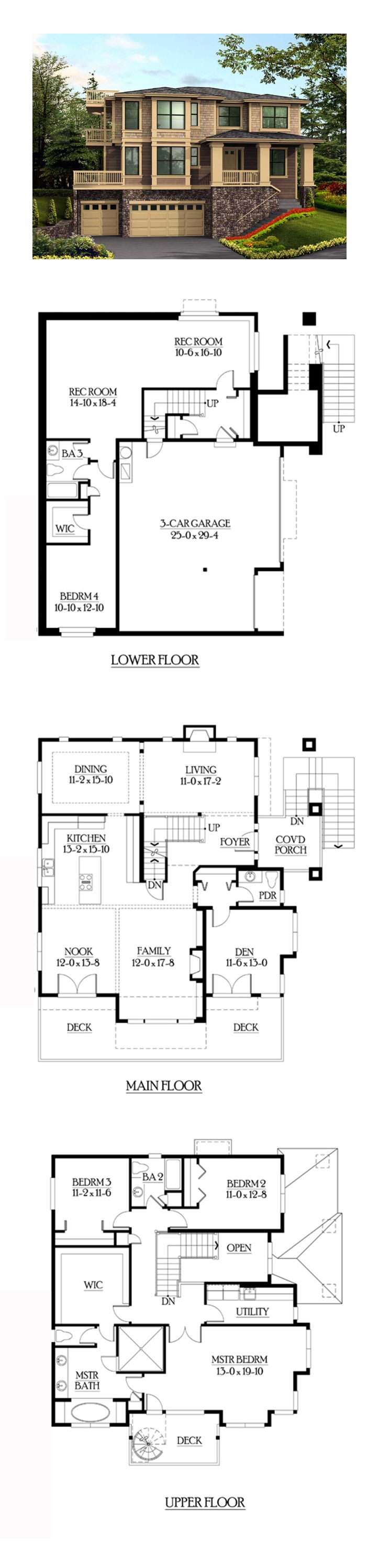 Southwest Style House Plan 87568 With 4 Bed 4 Bath 3 Car Garage Farmhouse Floor Plans Basement House Plans Best House Plans