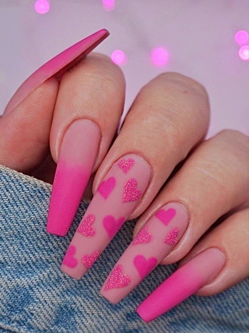 Valentine S Day Nail Art Pink Heart Leopard Page 15 Of 36 Mycolorednails Com Pink Acrylic Nails Barbie Pink Nails Coffin Nails Designs