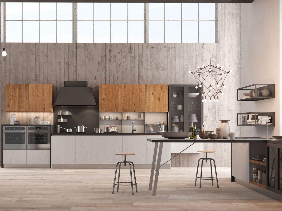 Elegant cucina lineare industrial con penisola arredamento for Ginestri arredamenti