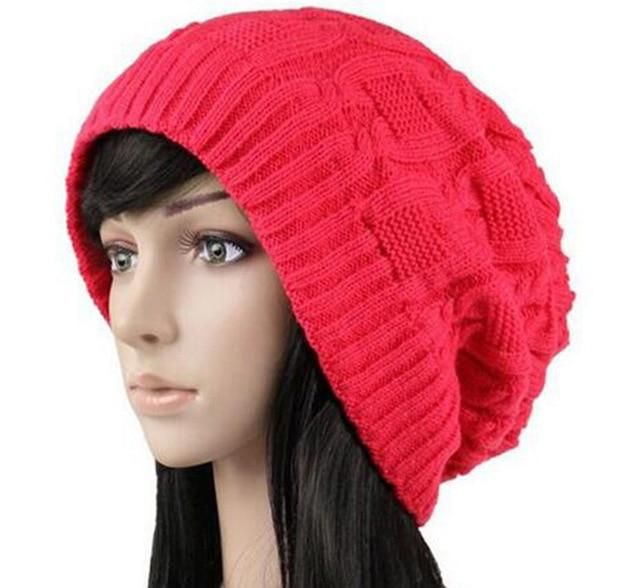 ce14b553881 Women Warm Casual Beanies Stripes Knitted Female Hat Autumn Winter Cap For  Girl