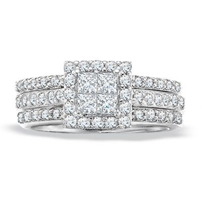 princess cut diamond bridal set in white gold size 7 at zales previously owned ct princess cut diamond bridal set in white gold size 7 - Zales Wedding Rings Sets