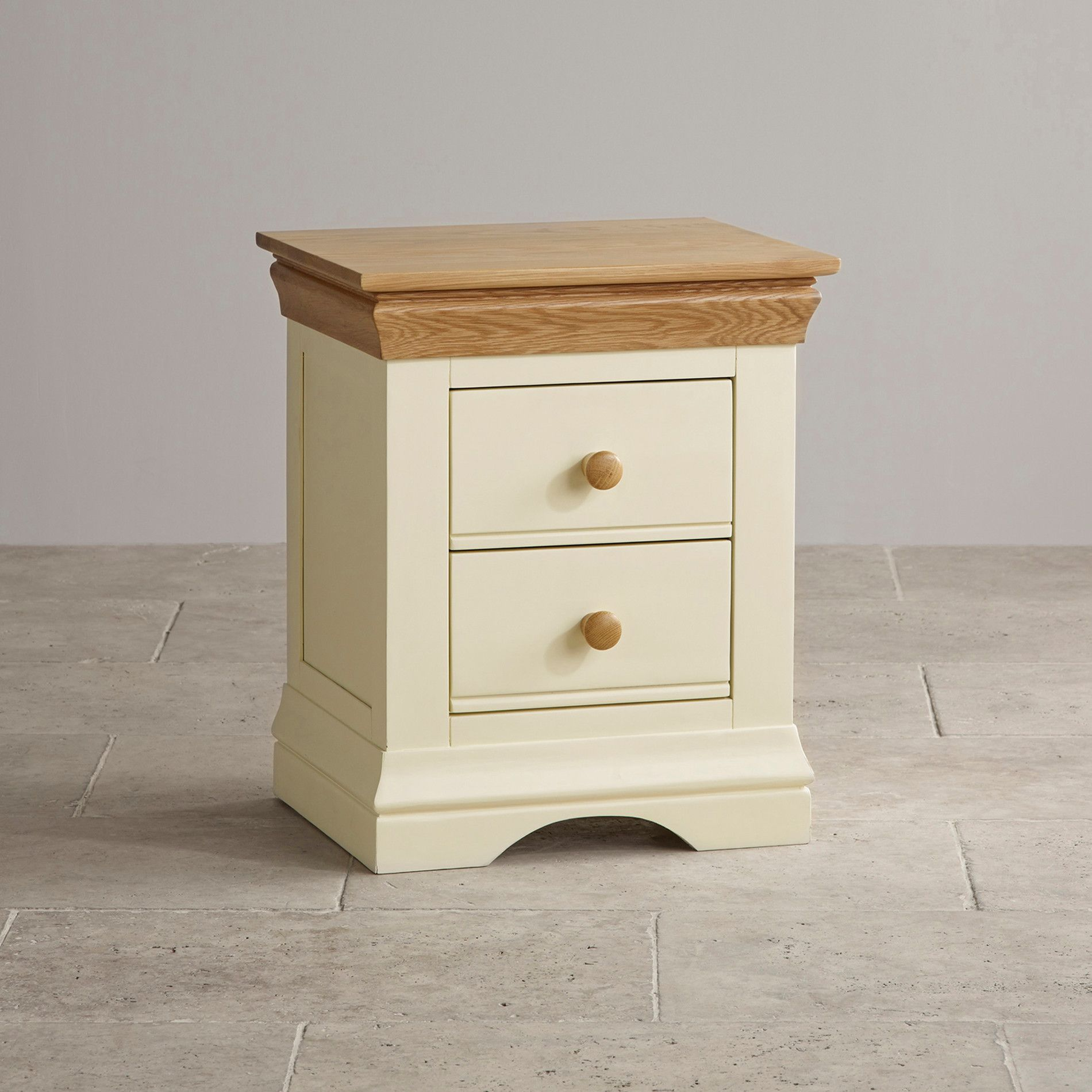 The Country Cottage Natural Oak And Painted Bedside Table