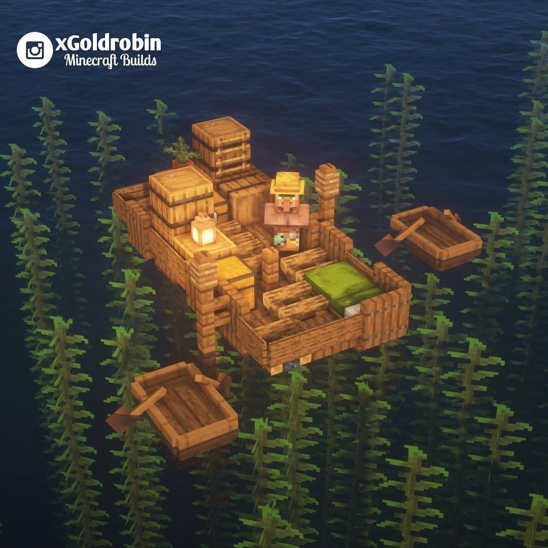 "Goldrobin - Minecraft Builder on Instagram: ""Villager on a raft, what happened to his ship? #minecrafthouses"