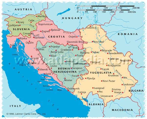 Political Map of Slovenia Croatia BosniaHerzegovina Serbia and