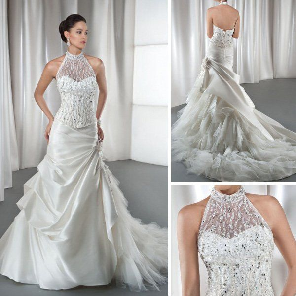 Trumpet Style Wedding Gowns: WD059 Luxury Beaded Lace Top Vintage High Collar Ruffle