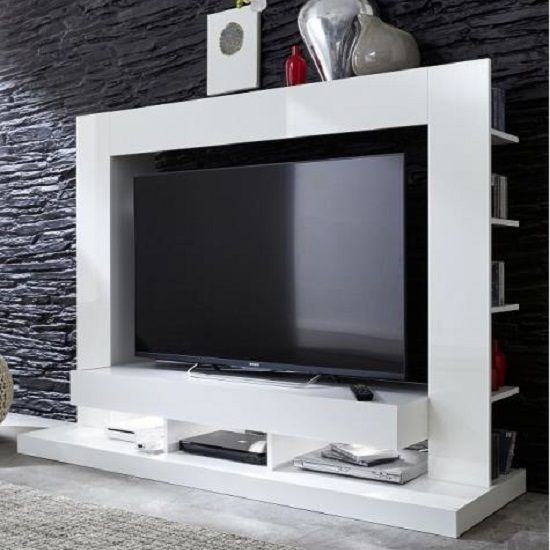 Stamford Entertainment Unit In White High Gloss With Shelving looks extremely beautiful and lavish in your living room Finish: Front; White High Gloss &nbs...