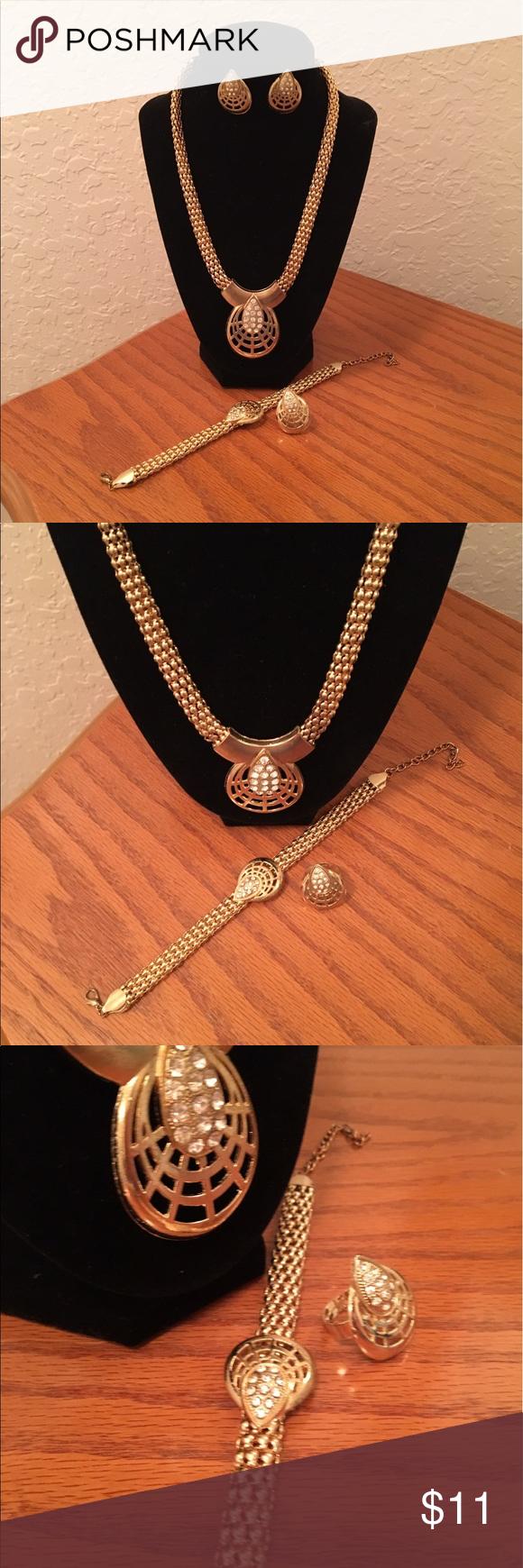 Gold necklacebracelet ring and earrings set gold necklacebracelet