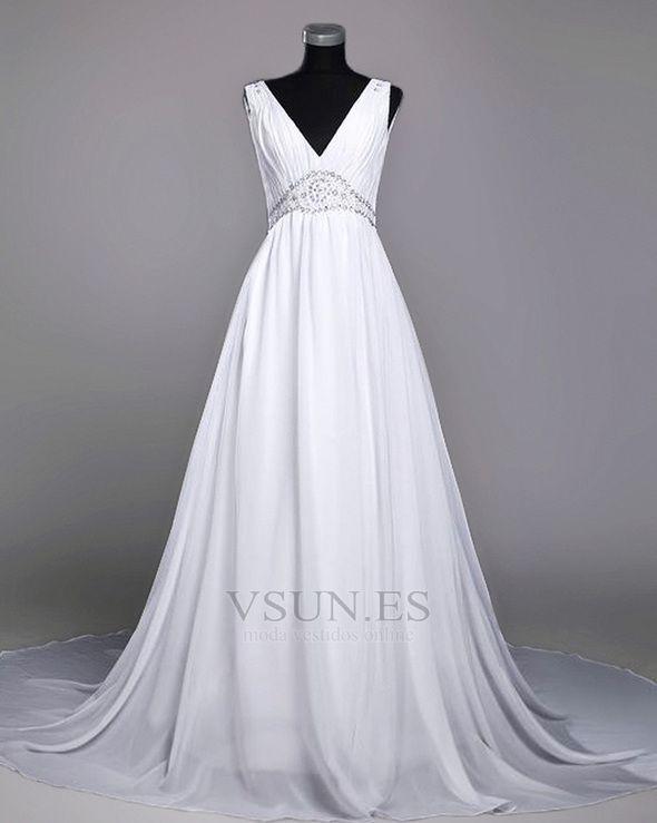 Vestido de novia Gasa Baja escote en V Verano Espalda Descubierta Elegante