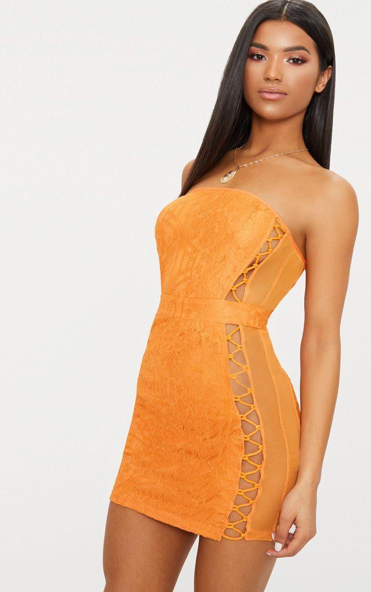 Orange Lace Bandeau Mesh Panel Lace Up Bodycon Dress