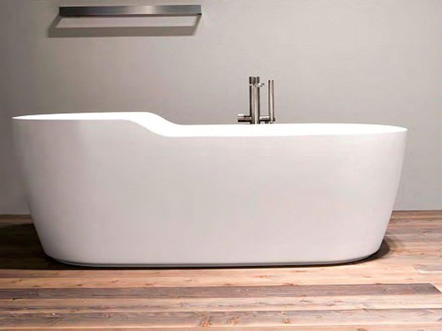 Venezia  freistehende Mineralguss-Badewanne in Weiss matt oder