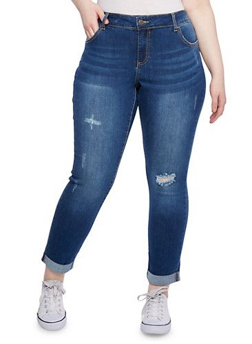 400ff7f46ff Plus Size WAX Jeans Skinny Distressed Jeans
