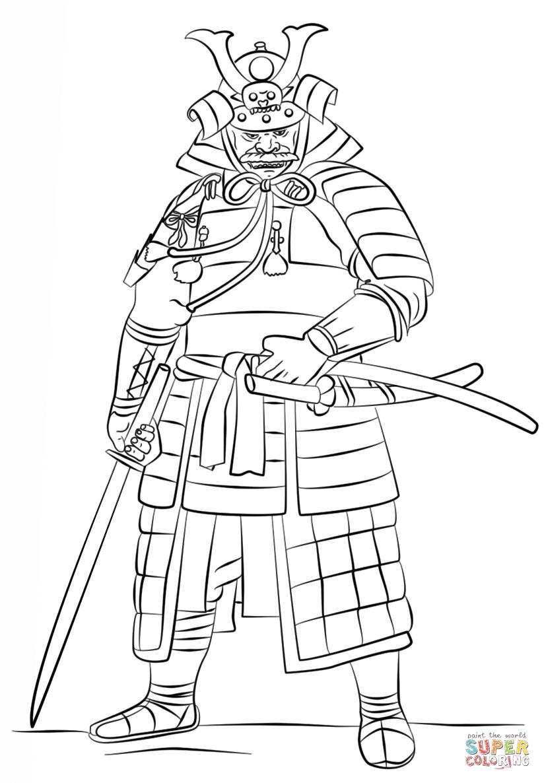 Samurai wearing an ucyoroi coloring page free printable coloring