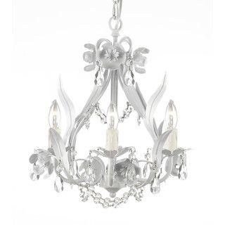 White wrought ironcrystal chandelier pendant gallery floral wrought iron and crystal white swag plug in 4 light mini chandelier aloadofball Choice Image