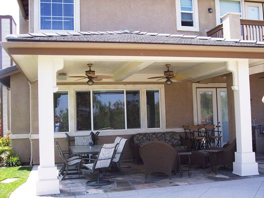 Yes Please Solid Tile Hip Roof Patio Cover With Ceiling Fans