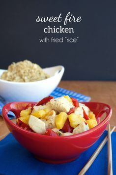 Panda Express Copycat Sweet Fire Chicken with pineapples and red bell pepper with cauli-fried rice!