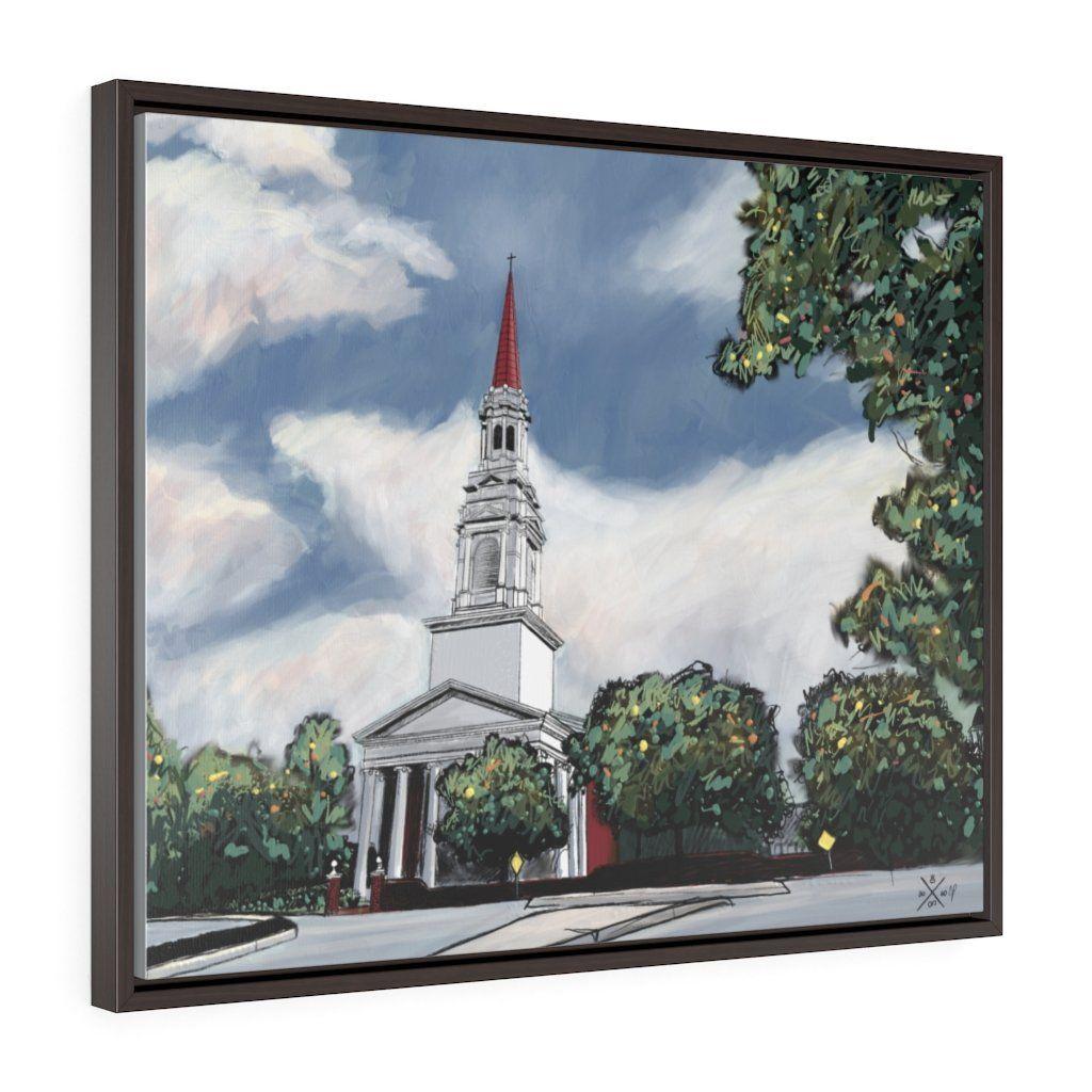 The Church at Wieuca Horizontal Framed Premium Gallery Wrap Canvas - 30″ × 24″ / Walnut / Premium Gallery Wraps (1.25″)
