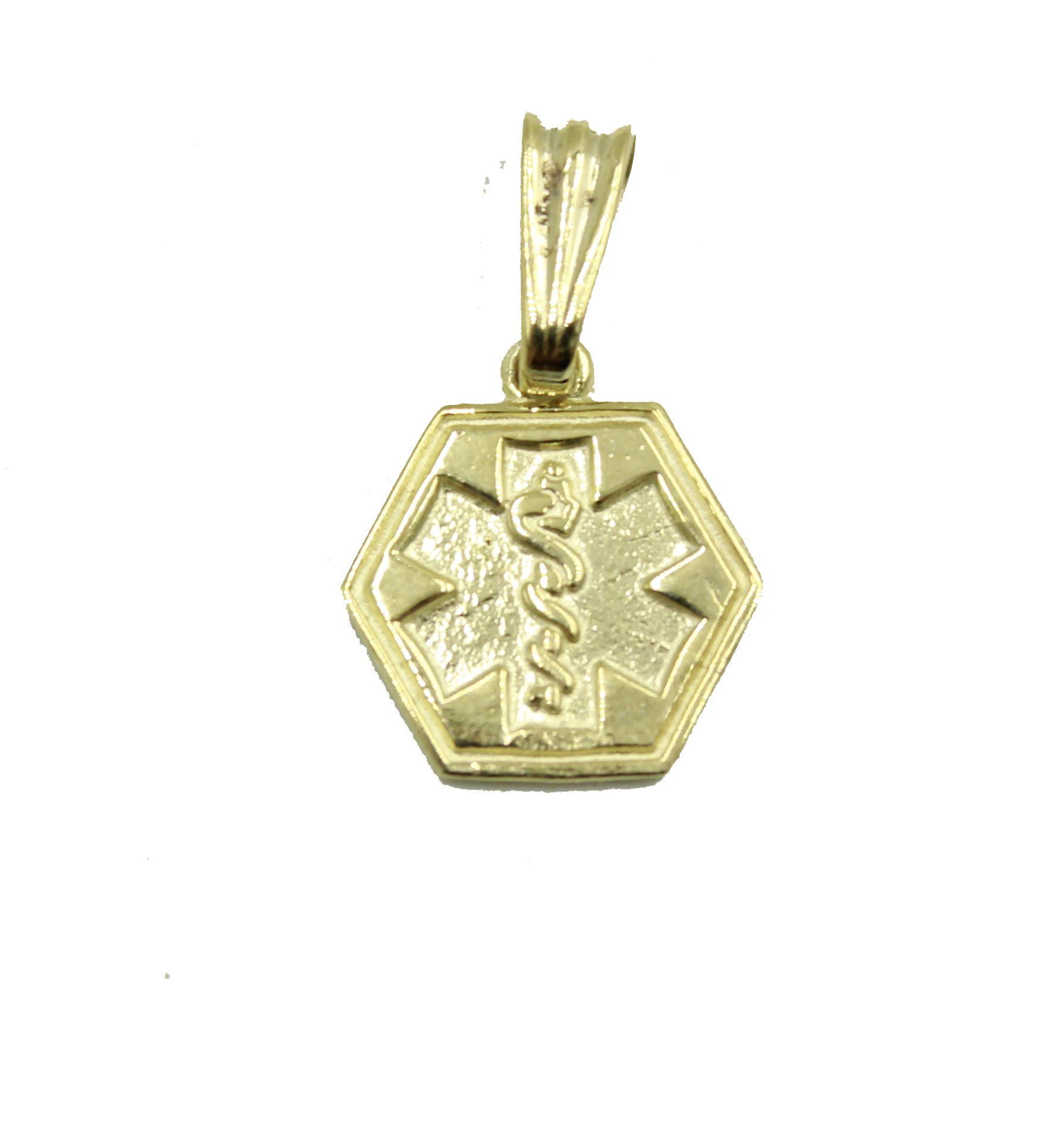 14k Yellow Gold Medical Alert Cadeusus Pendant