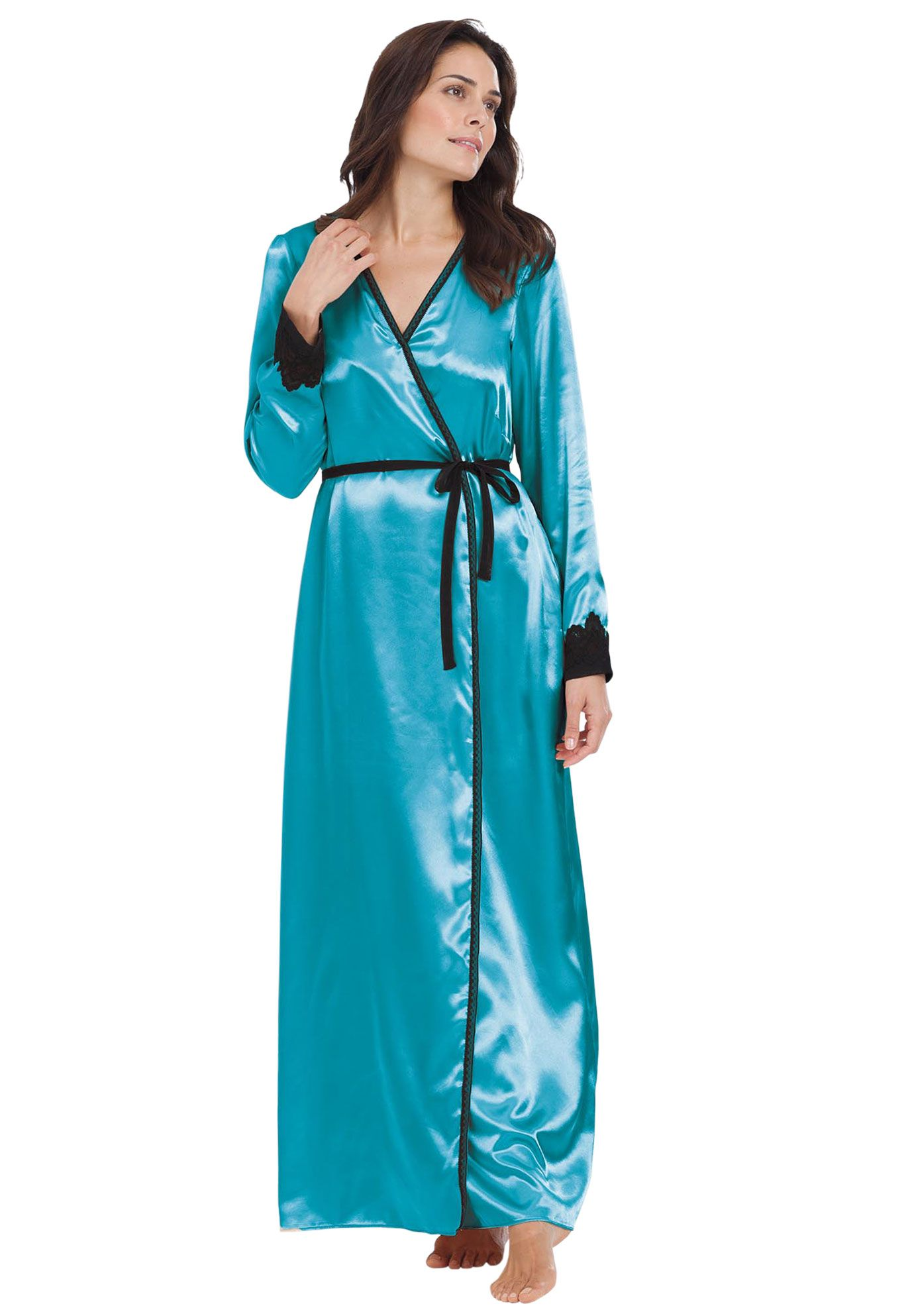 b6a14e98e6 Plus Size Robe for lounging in satin by Amoureuse®
