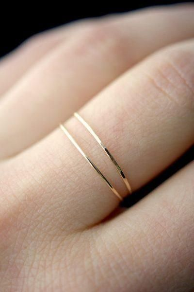 5507957480292 Ultra thin gold stacking ring hammered stacking ring 14k gold fill ...