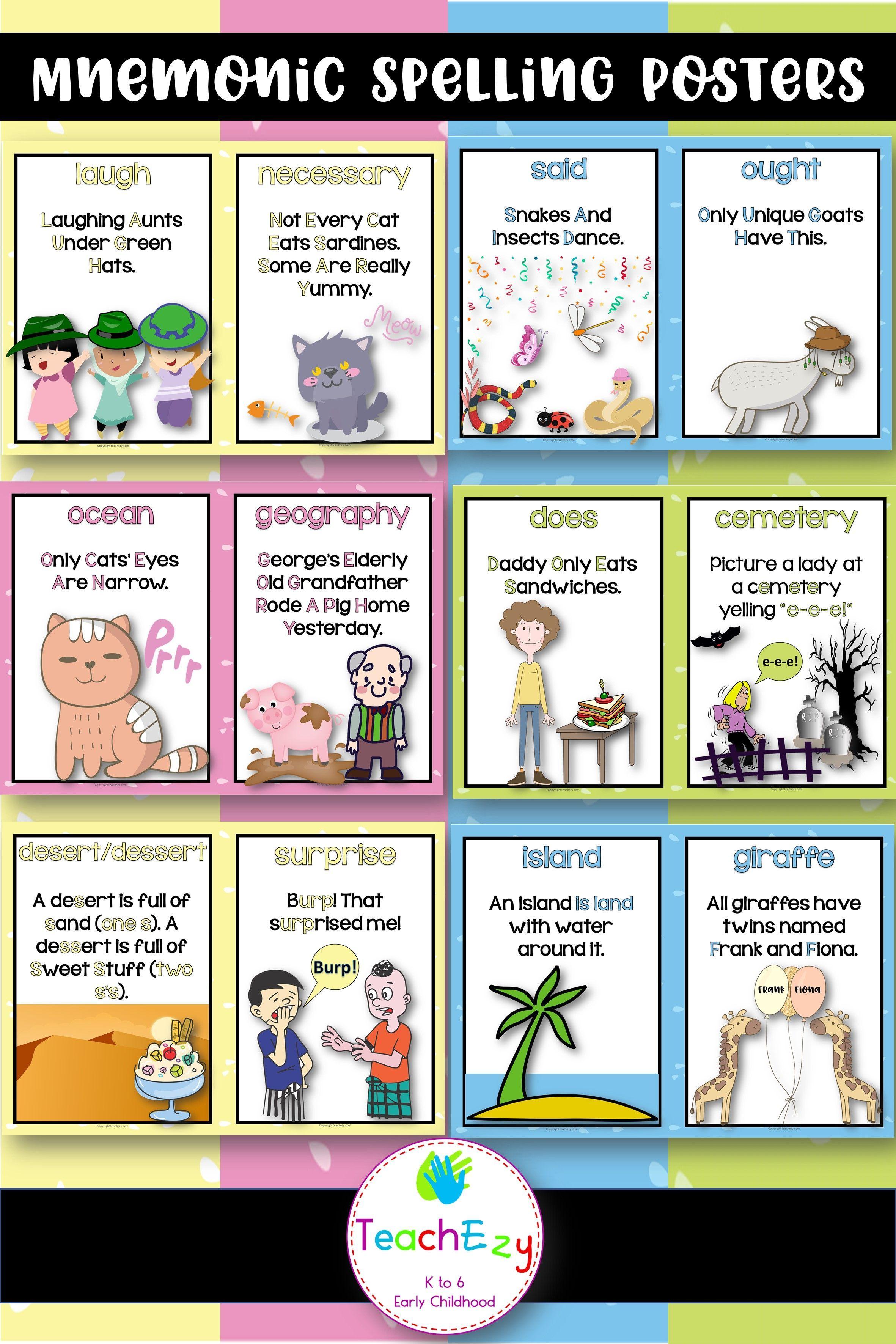 Mnemonic Spelling Posters Teachezy Tricky Words Mnemonics Spelling [ 3543 x 2362 Pixel ]