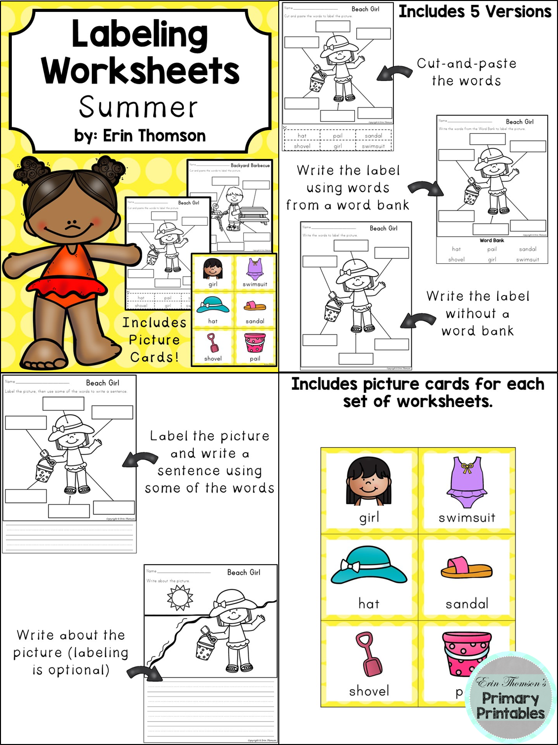 Labeling Worksheets And Writing Prompts Summer Themed