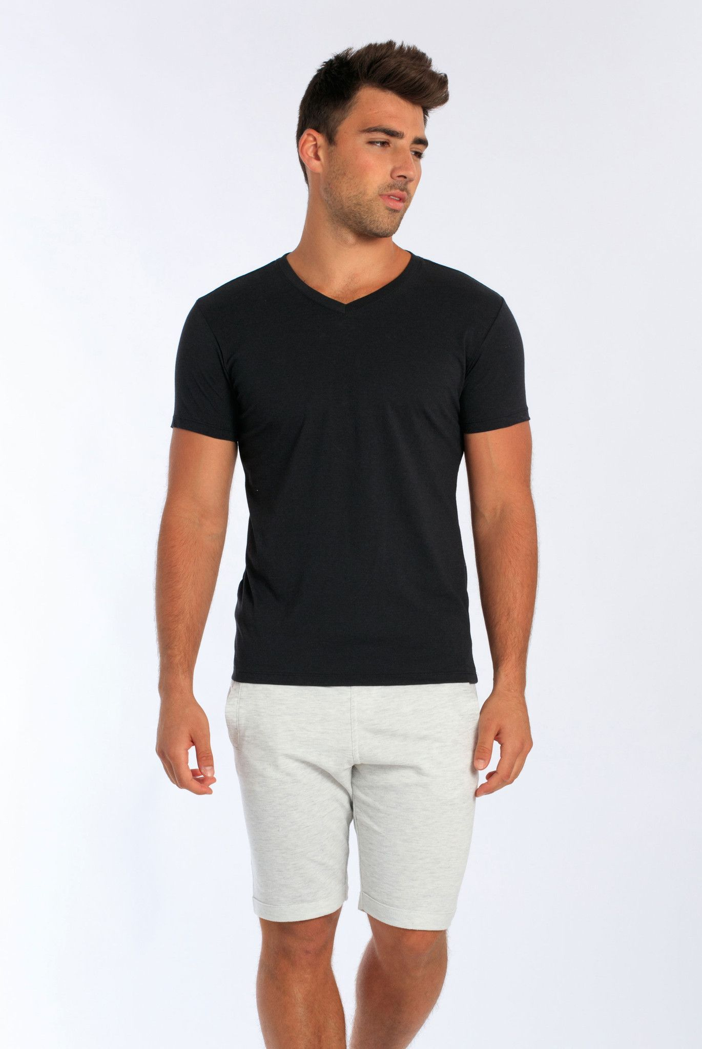 Miami Style® - Men's V-Neck Fitted Fine Jersey Tee