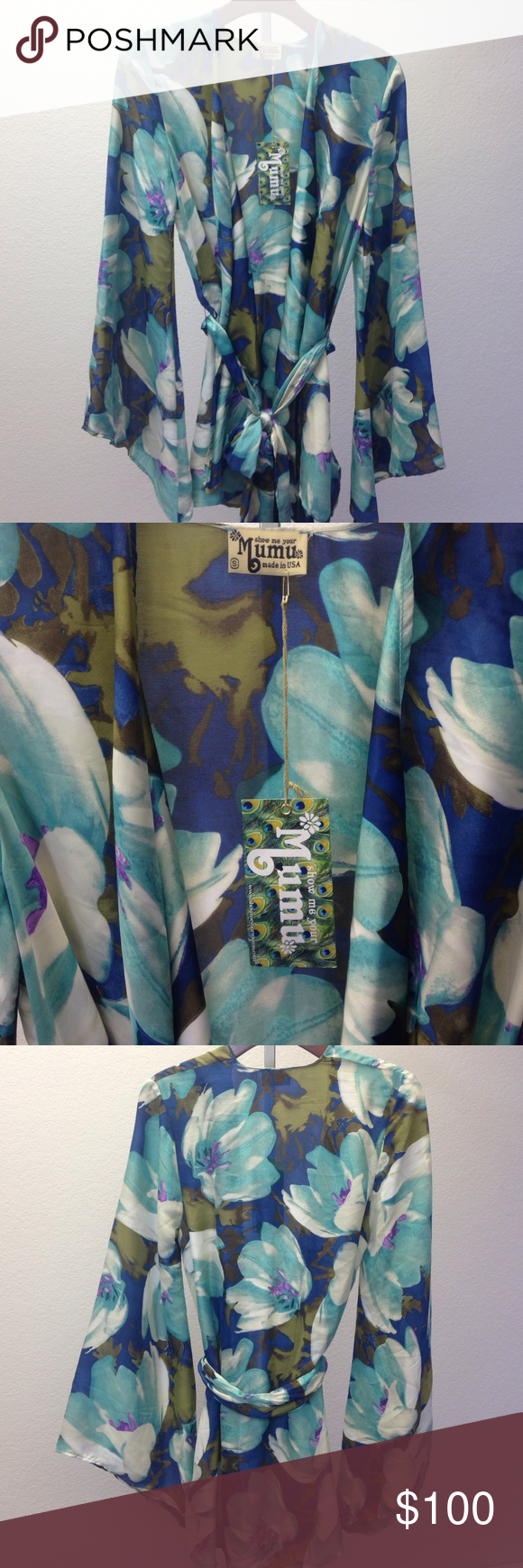 Show Me Your Mumu Beaux Kimono Floral printed, flare sleeves, 100% Polyester kimono.  Brand new, with tags. It's so silky and fits amazingly Show Me Your MuMu Tops Blouses