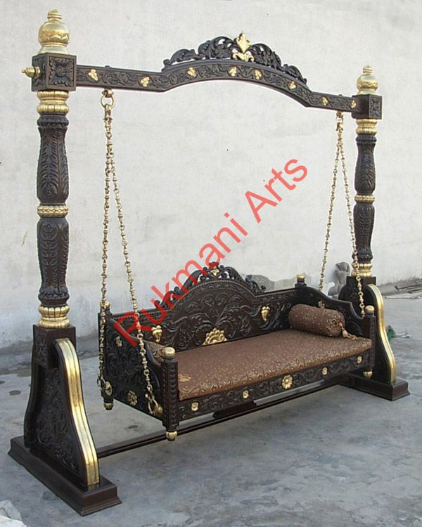Indian maharaja wooden swings wood art pinterest for Garden jhoola designs