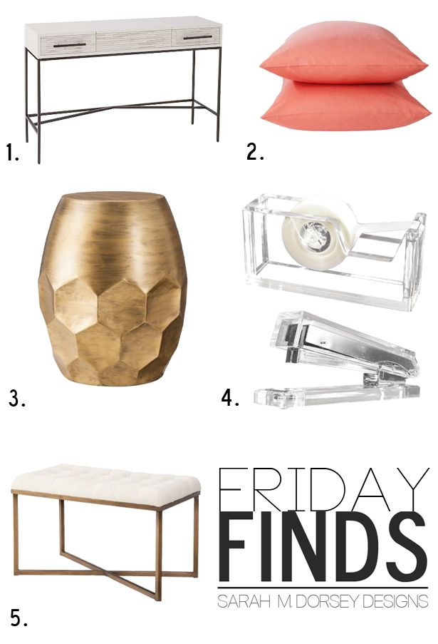 1 West Elm Wood Tiled Vanity Console 3 Threshold Gold Honeycomb Accent Table 4 Lucite Tape Dispenser Stapler 5 Target Tufted Ottoman