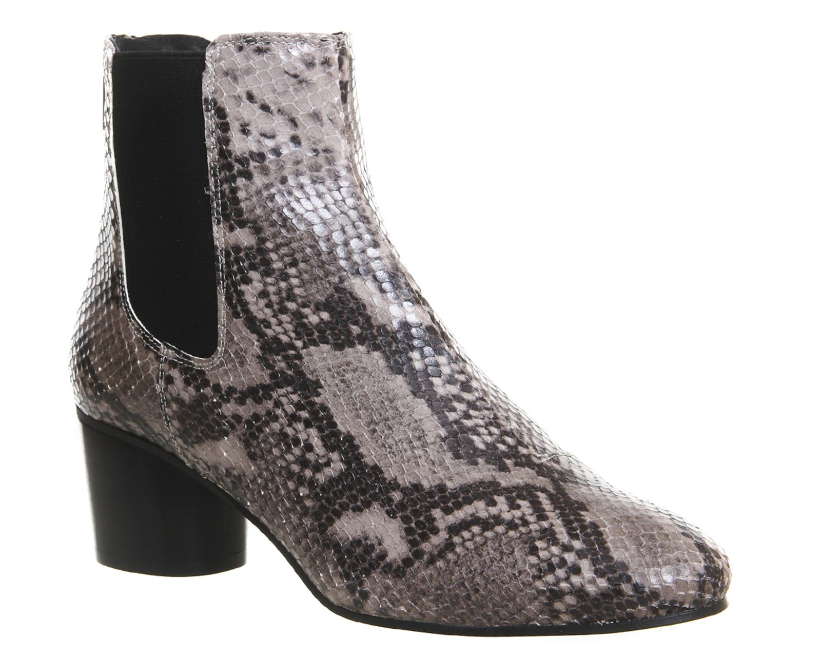 Office Ingot Back Zip Chelsea Boots Grey Snake Embossed Leather - Ankle  Boots