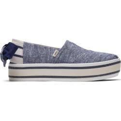 Toms Schuhe Blau Chambray Gestreift Mit Strick Platform Boardwalk Alpargatas Für Damen – Größe 35.5