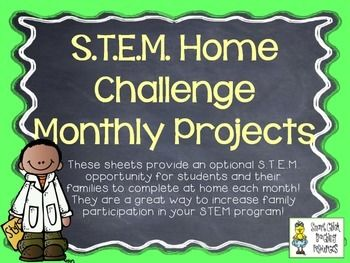 We send these S.T.E.M. Home Challenges home with all of the students in our school building once a month.  I created them with easy to find items in order to encourage the highest amount of family participation.  We display each of the projects every month in a display case near our front office.