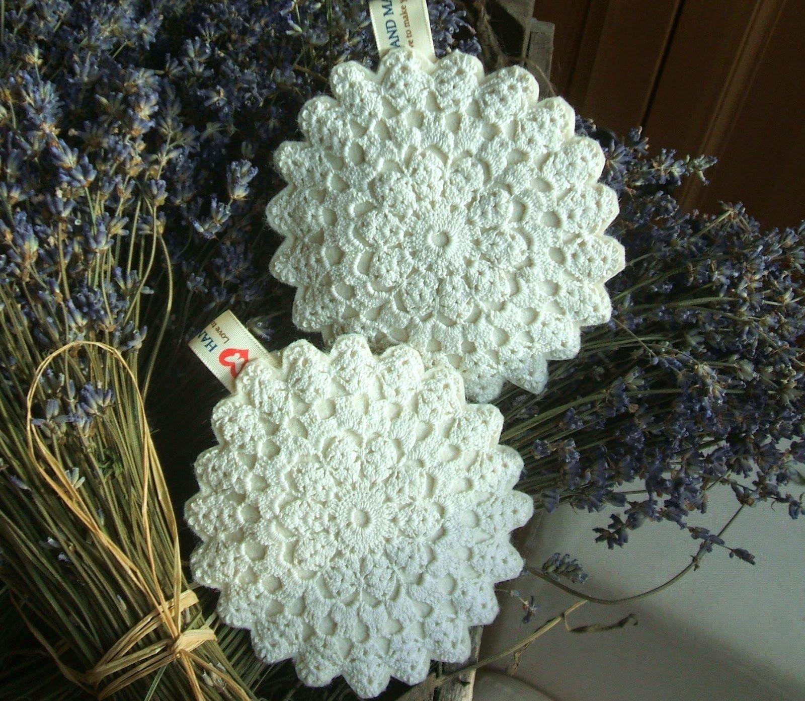 Lavander pillows with antique lace