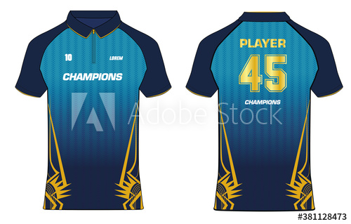 Download Sports Cricket T Shirt Jersey Design Template Mock Up Uniform Kit With Front And Back View Buy This Stock Vector Jersey Design Cricket T Shirt Cricket Sport