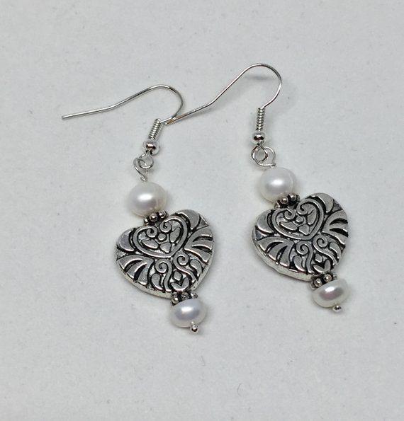 freshwater pearl June birthstone gemstone earrings White teardrop pearl silver filigree earrings