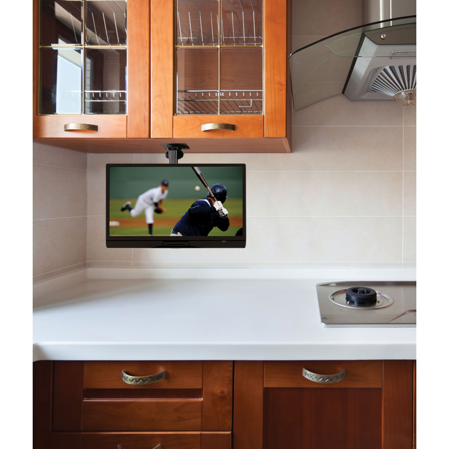 Parts Express Folding Lcd Tv Mount Tv In Kitchen Kitchen Cabinets Home