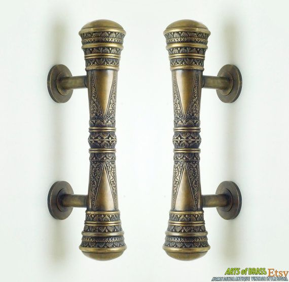 11 41 Inches Set 2 Pcs Vintage Victorian Clic Detail Entry Door Handle Hardware Cabinet Solid Br