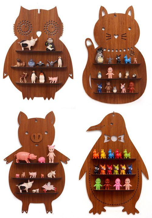 Owls Jungle Animals Wooden Bedroom Furniture Kids: Animal Shaped Wooden Shelves _ Owl, Cat, Pig And Penguin