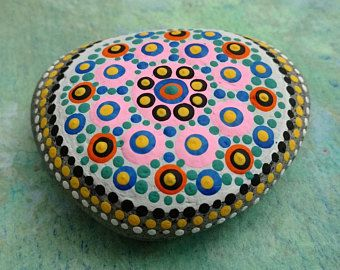 PLAGE Pierre # 8 / Pierre Mandala / galets Art / Dot peint Pierre/Home Decor déco Rock / abstrait / acrylique / Original