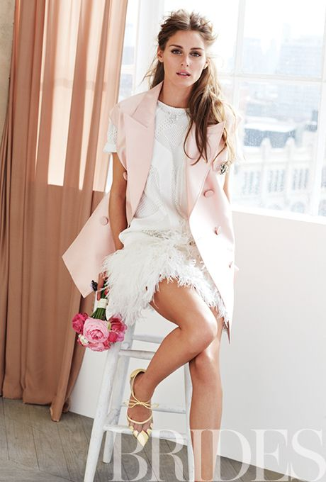 Brides.com: Exclusive Outtakes from Olivia Palermo's Brides Cover Shoot. Silk and ostrich-feather wedding dress, $895, Robert Rodriguez available at Neiman Marcus; Silk vest, $3,700, Dior, 800-929-3467; Brooch, Miriam Haskell; Ring, Graff  See more short/mini wedding dresses.