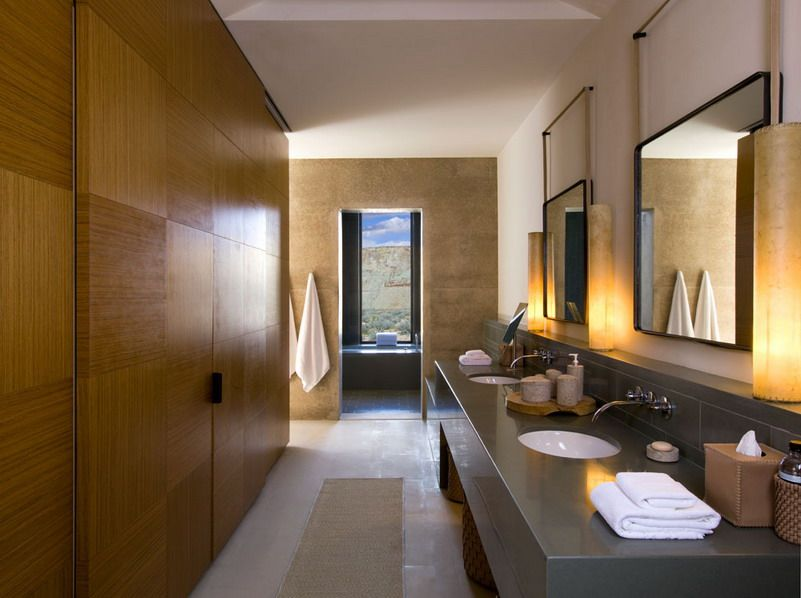Modern Design Of Desert Amangiri Hotel With Excellent Interior Decoration Dekorasi Rumah Rumah Shower