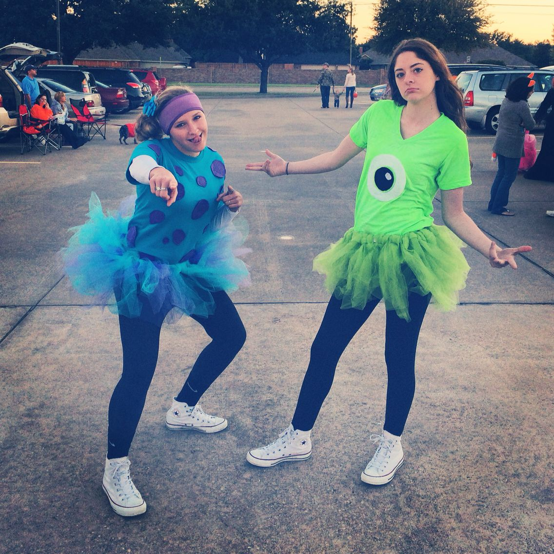 Sulley & Mike...this would be cute for a running group costume ...