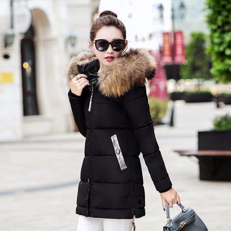3dc80ccd0 Padded Winter Jacket Women Long Plus Size Black Female Coat 2018 ...