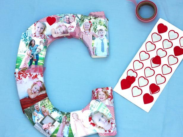 How to Make a Photo Collage on a Big Letter: Fill empty spaces with decorative tape or stickers.  From DIYnetwork.com