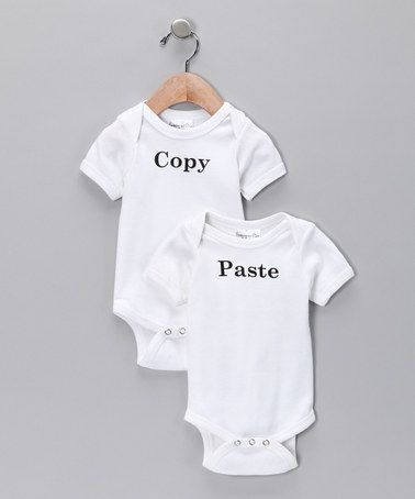 Take a look at this White 'Copy' & 'Paste' Bodysuit Set - Infant by Swinging on a Star on #zulily today!