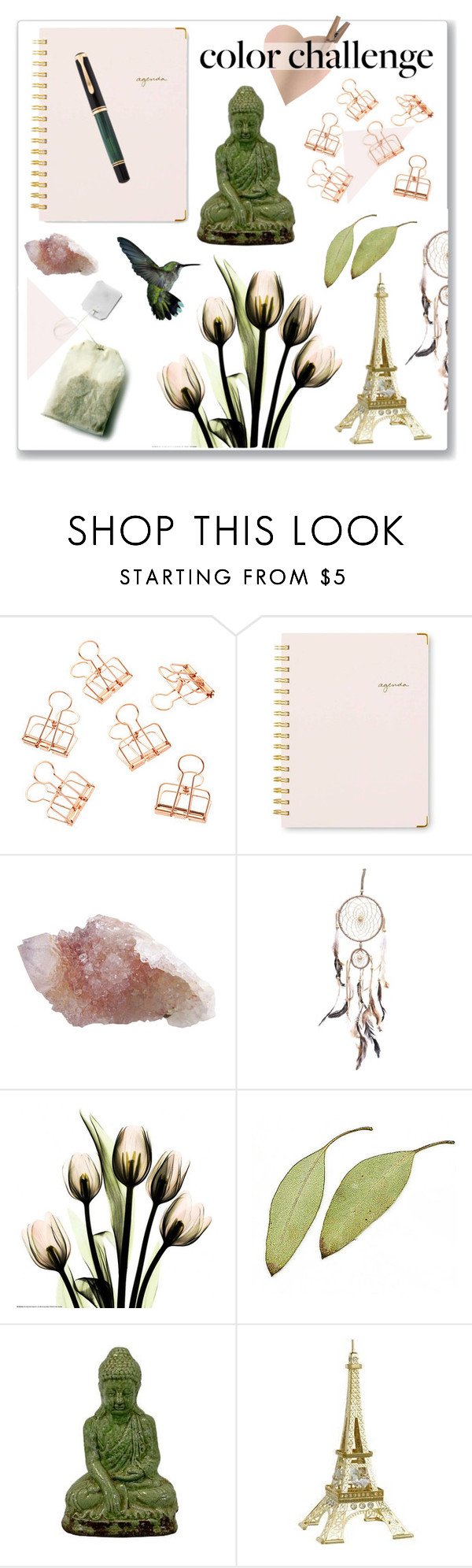 """Color Challenge"" by hellodollface ❤ liked on Polyvore featuring interior, interiors, interior design, home, home decor, interior decorating, Sugar Paper, Urban Trends Collection, Swarovski and Pelikan"